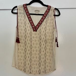 Lucky Brand tank with tassels on sleeves